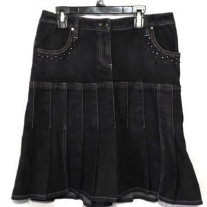 Adrienne Vittadini Pleated Denim Skirt